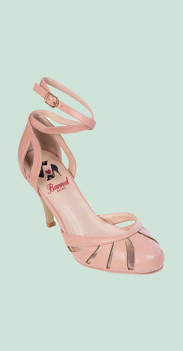 Vintage Style Shoes - Vast Lagoon Ankle Strap Heel - Pink