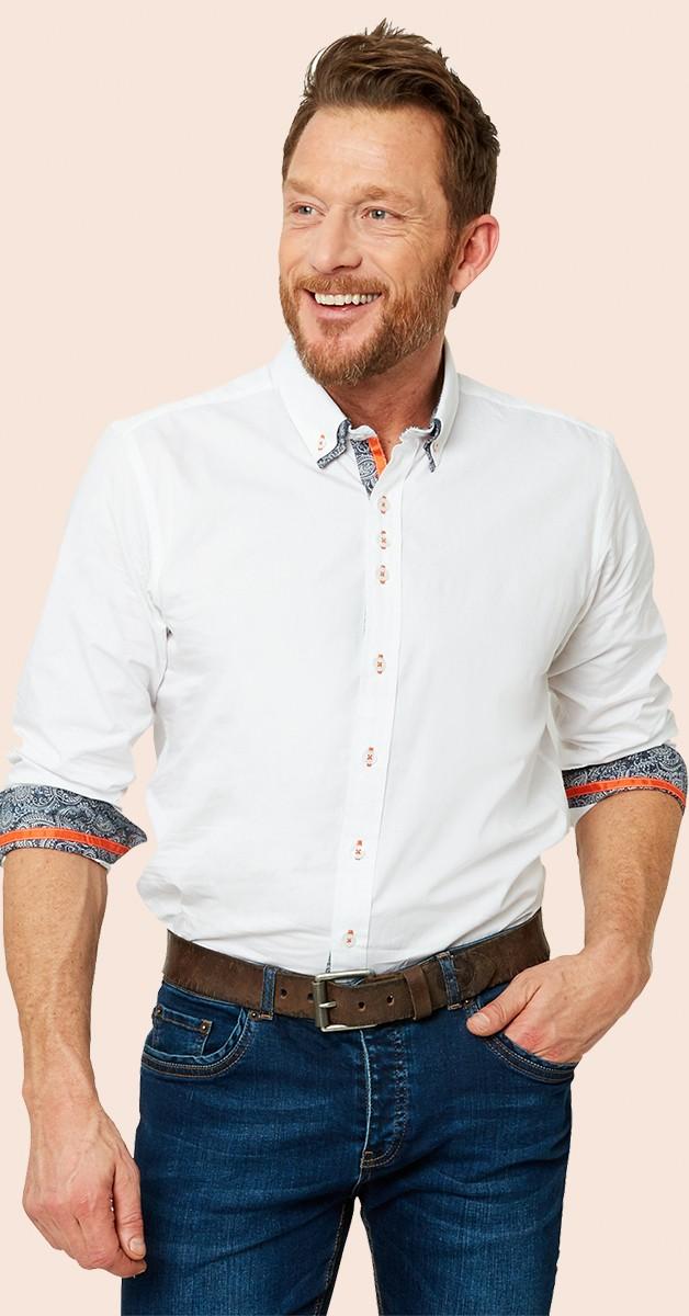 Vintage Retro Shirt - Dapper Double Collar Shirt - White