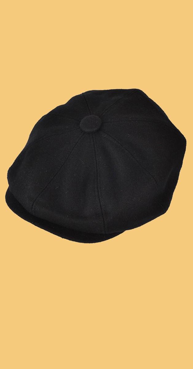 Vintage Retro Accesories - Classic Newsboy Cap - Black
