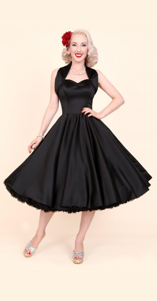 1950s Halterneck Black Duchess Dress