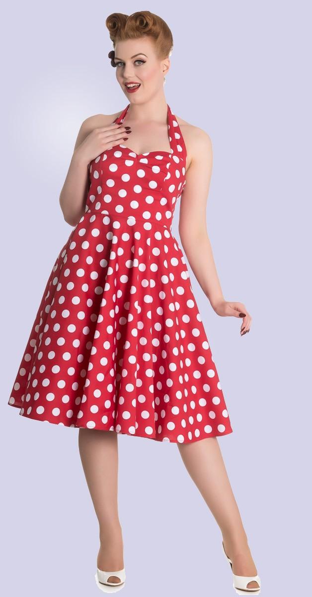 Vintage Stil Kleid - Mariam - Rot Mit Punkten
