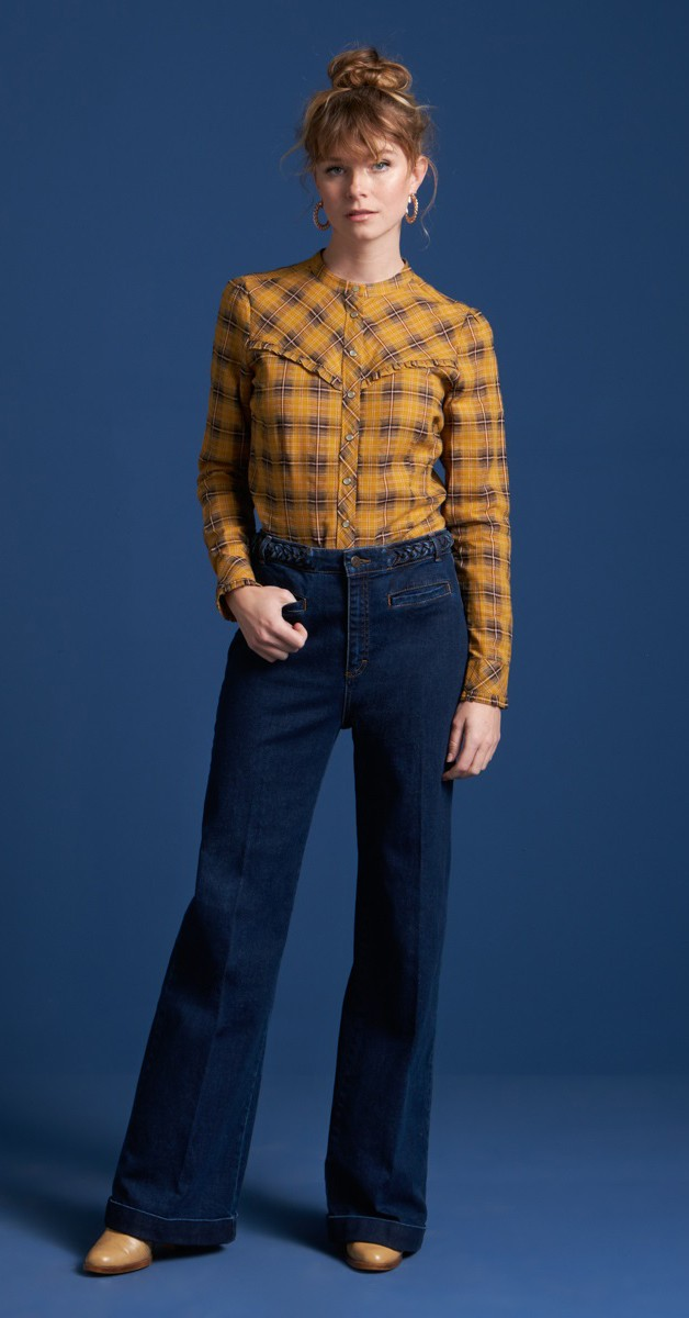 Vintage Style 60's Clothing-  - Nala Blouse Cowgirl Check- Sunset Yellow