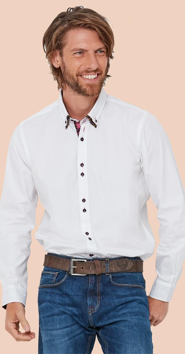 Vintage Retro Hemd - Fantastic Floral Double Collar Shirt - Weiß