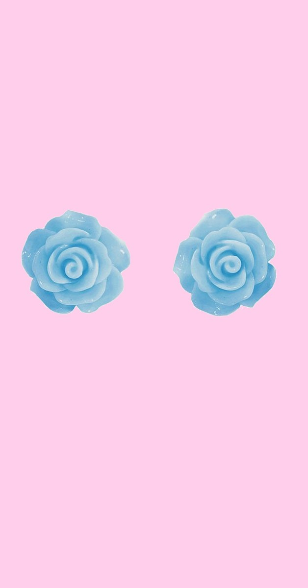 Vintage Retro Ohrstecker - English Rose Studs - Blau