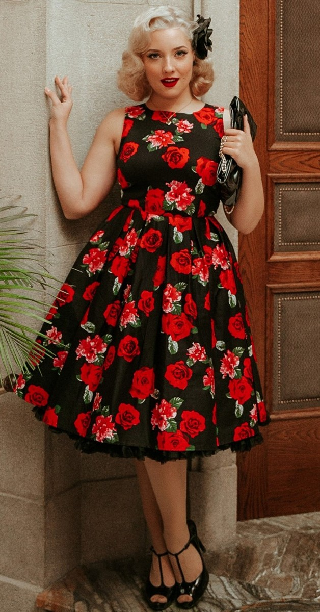Vintage Style Fashion -Annie Black and Red Roses Swing Dress & Pink Roses
