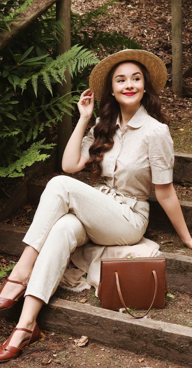 50s Retro Fashion Vera Pants Linen Natural
