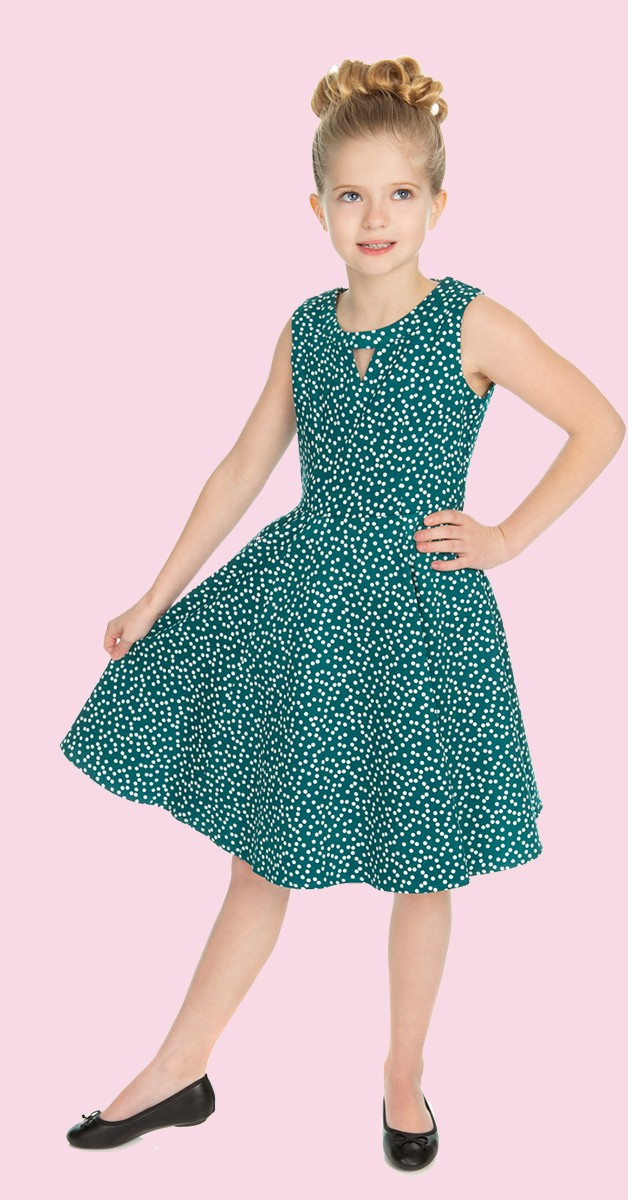 50s Kinderkleidung - Kleid - La Rosa Dotty Swing Dress - Grün/Weiß
