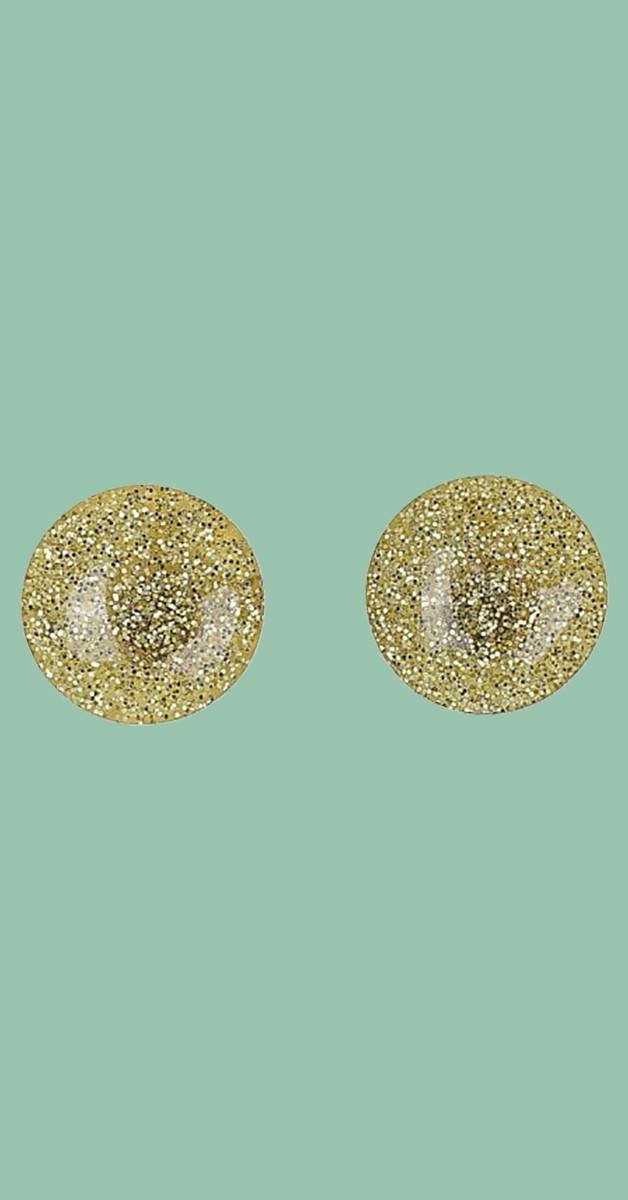 Vintage Retro Ohrstecker - Sparkly Dome Studs - Goldfarben