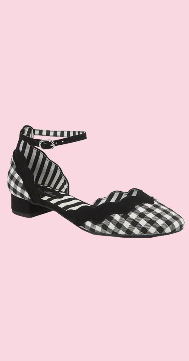 Retro Vintage Style  Shoes  -  Karo Ankel- Strap Sandal - Lydia - Black