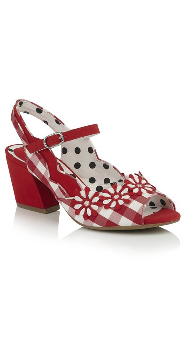 Retro Shoes - Hera Checked Block Heel Sandals in Red
