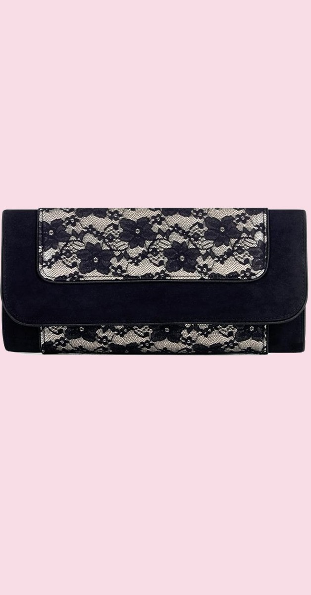 Vintage Retro Handbag - Charleston Clutch - Cream-Black