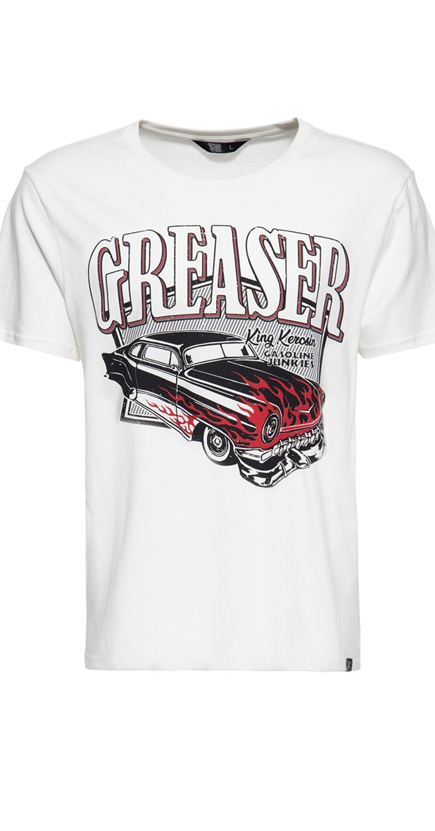 Rockabilly Clothing - T-Shirt - Gasoline junkies - White