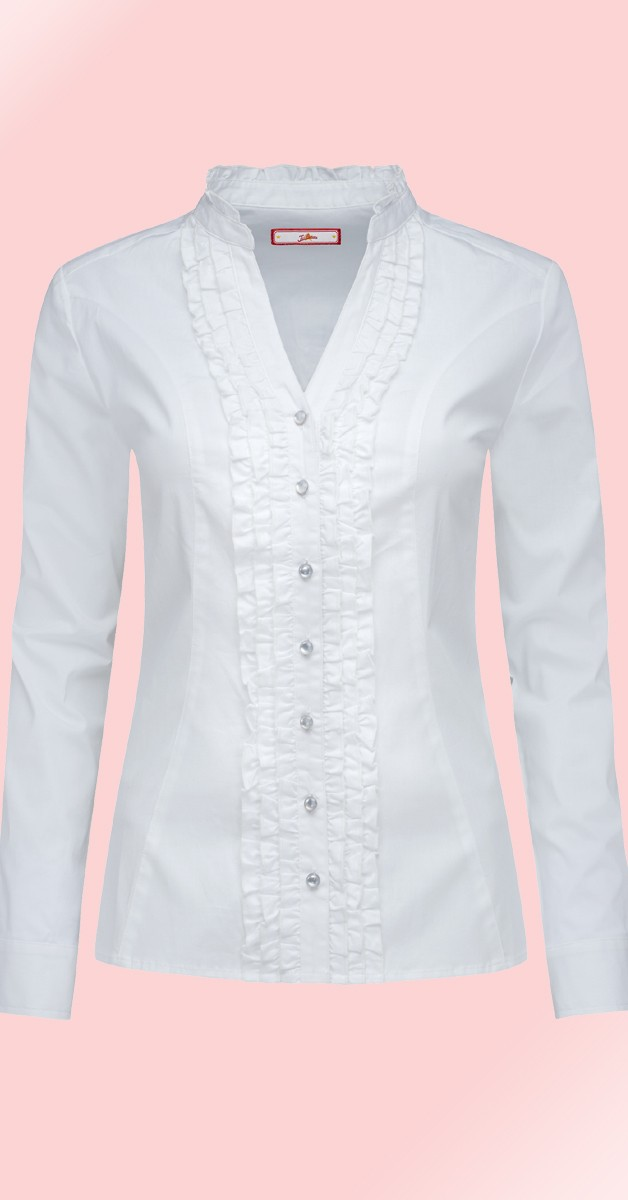 Vintage Stil Bluse - Ruffle Blouse - Weiß