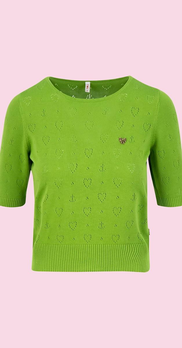 Retro Style Fashion - Logo Pully Round Neck - Green Heart Anchor