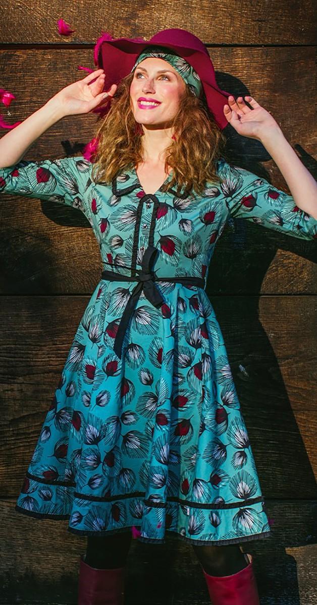 Vintage Stil Mode - hello mary rose robe- Falling leaves - Kleid