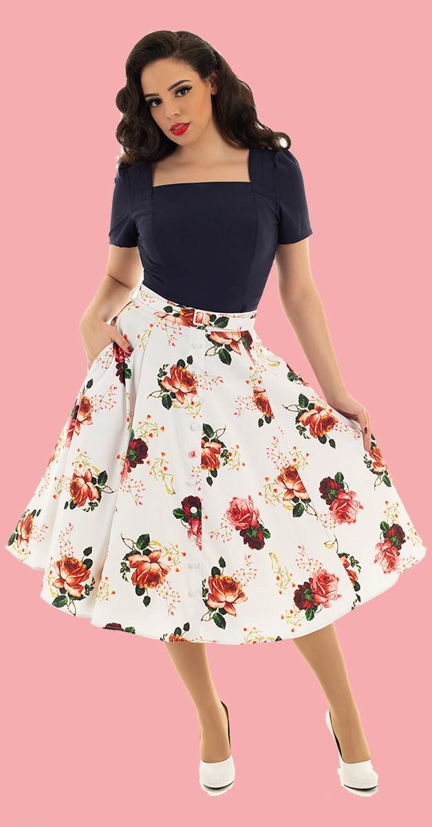 Vintage Fashion - White Floral Swing Skirt - White