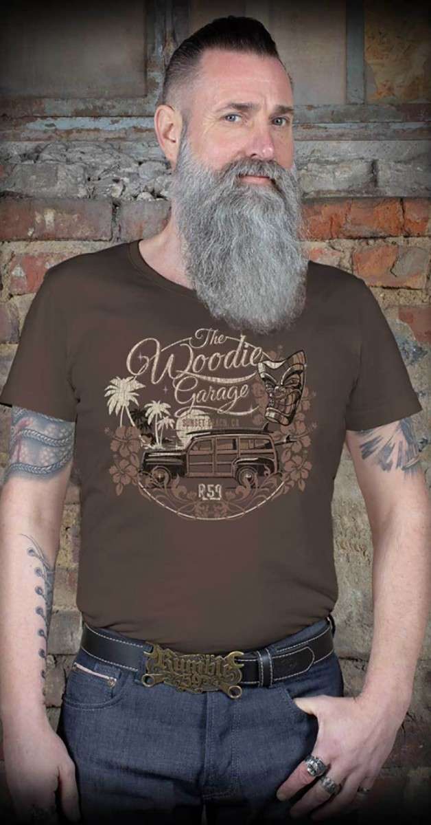 Rockabilly Clothing - T-Shirt - The Woodie Garage - Brown
