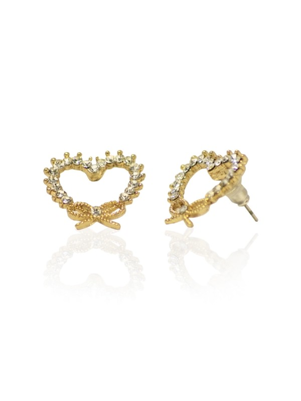 Vintage Accessoires - Ohrstecker - Diamante Heart Wreath Earrings