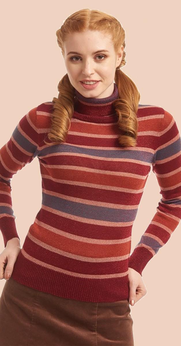 Vintage Stil Bekleidung - Rollkragenpullover -  Quirky Striped