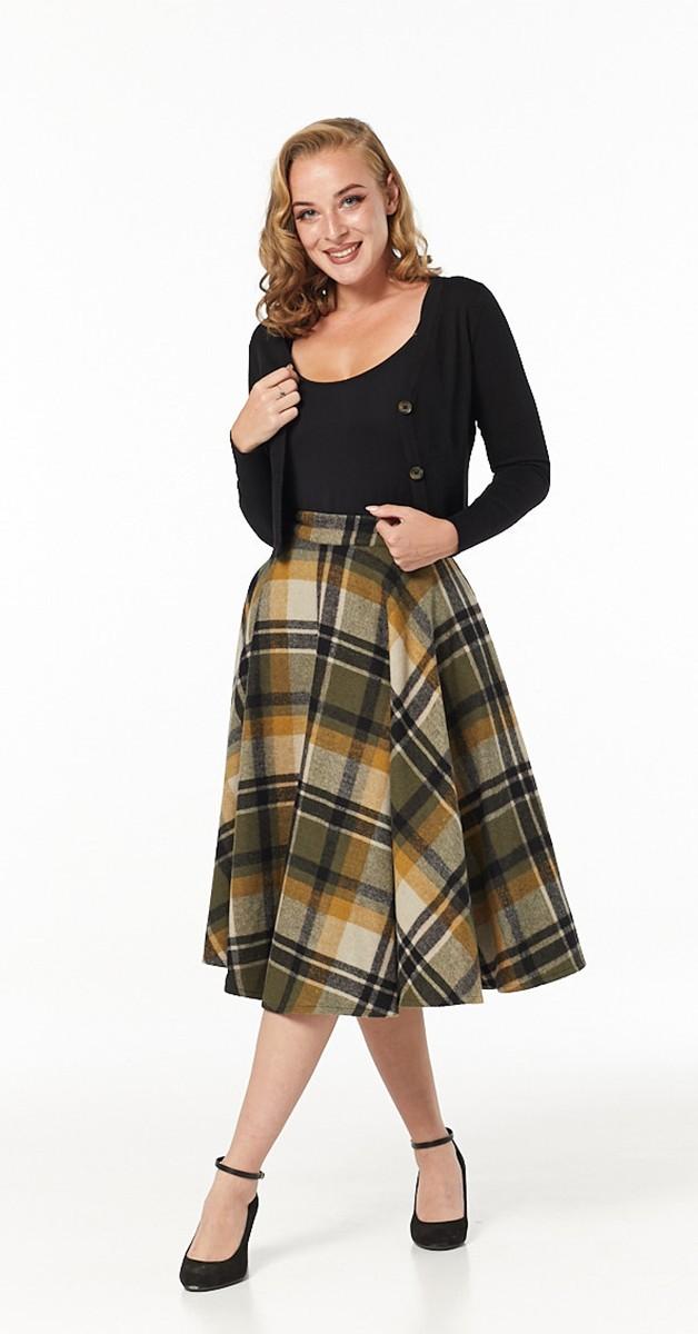 Vintage Fashion - Sophie 50s  Skirt Mustard Check