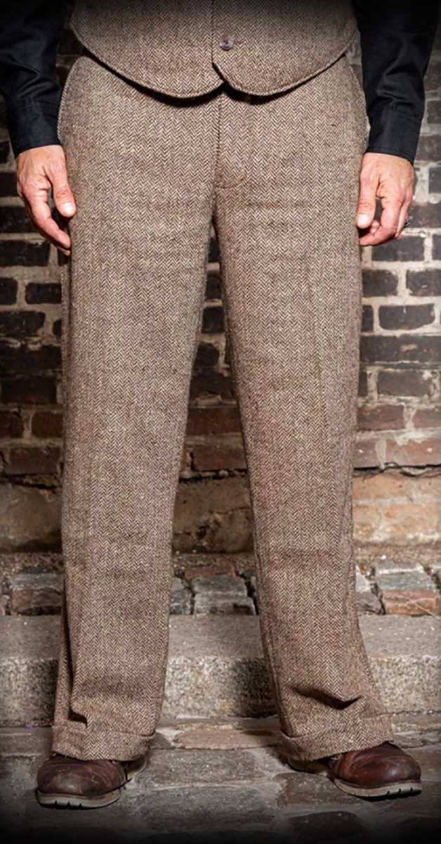 Vintage Loose Fit trousers with herringbone pattern in natural shades