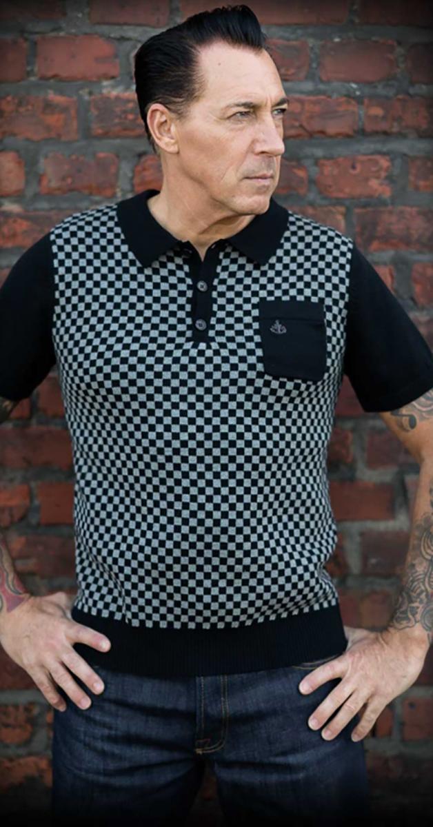 Rockabilly Strick Poloshirt- Indianapolis grau