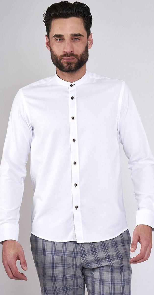 Vintage Retro Shirt - Grandad Collar Shirt - White