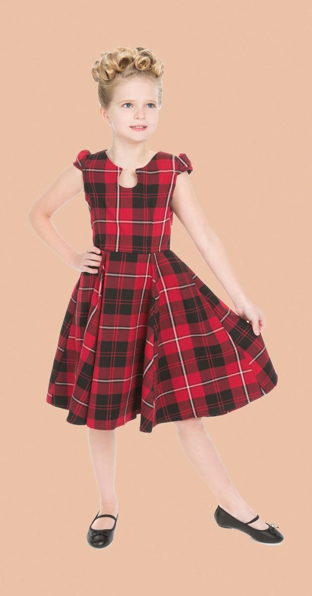 50s Kinderkleidung - Kleid - Red Tartan Tea Dress - Rot
