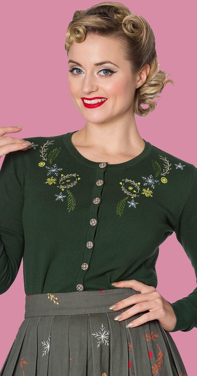 Vintage Stil Bekleidung Weste - Winter Leaves  Cardigan