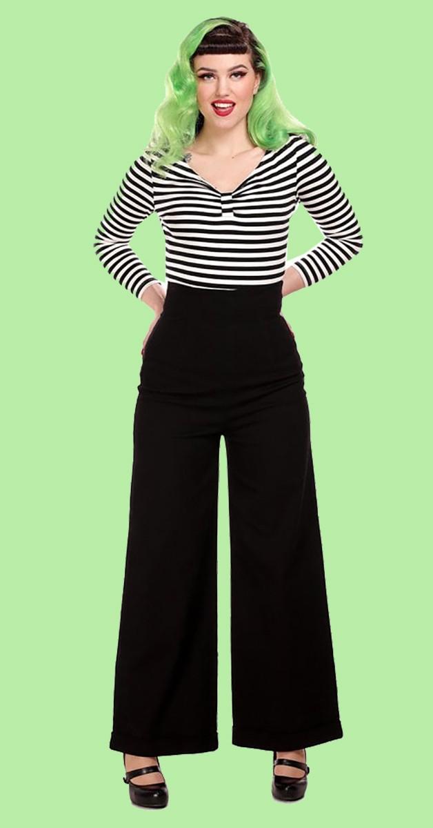 Vintage Mode - Hose - 50s Kiki High Waisted Jeans - in Schwarz