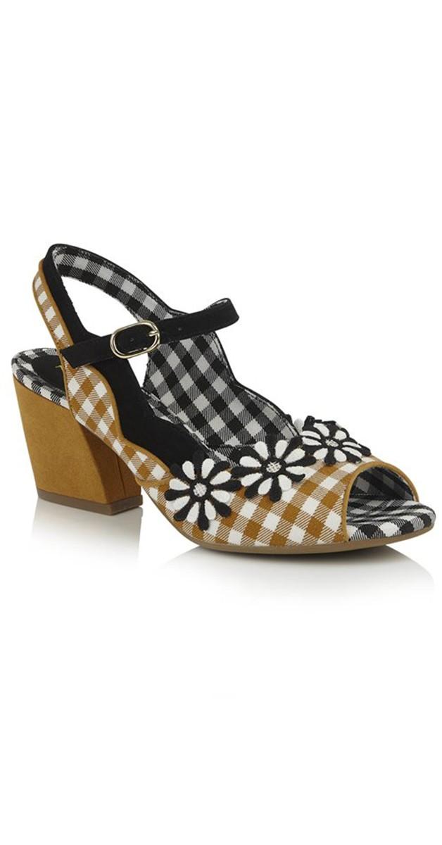 Retro Shoes - Hera Checked Block Heel Sandals in Ochre