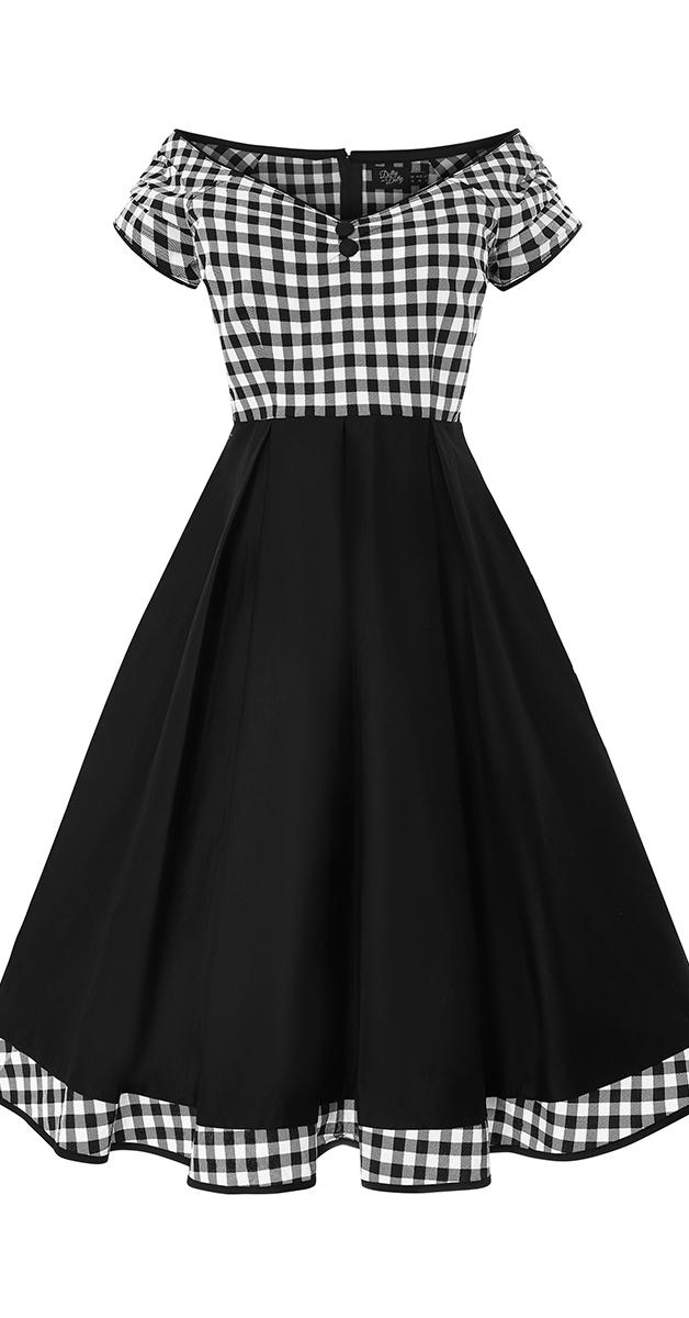50er Jahre Stil Kleid -Lily Monochrome Checkered