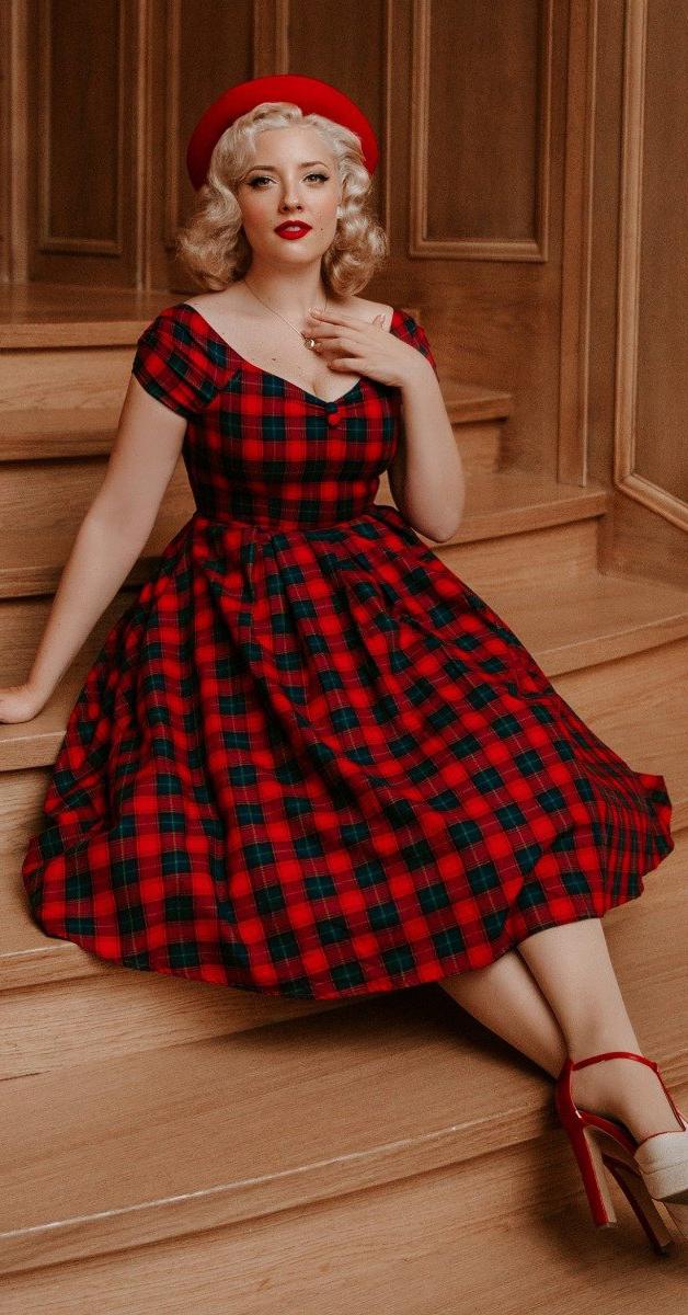 50er Jahre stil -Swing dress Lily Off Shoulder Red Tartan