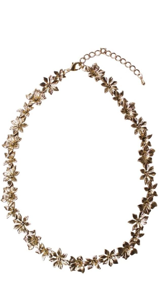 Vintage Retro Accessoires - Layla Floral Halskette - Goldfaben