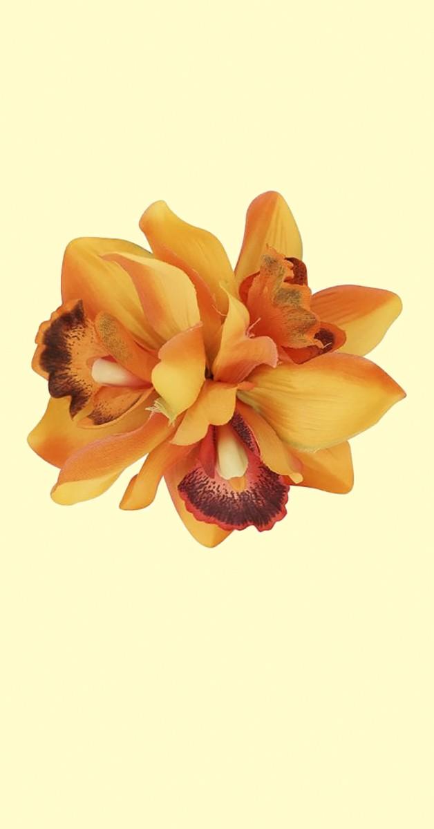 Pin Up Haarclip Aaliyah Orchid Hair Flower - Orange