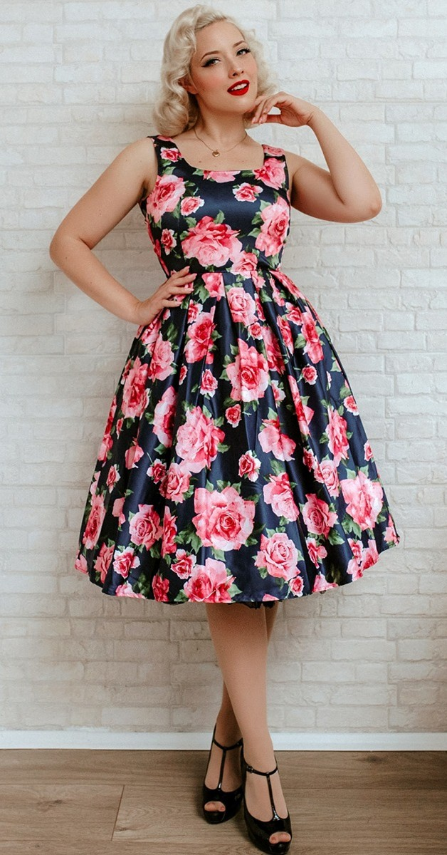 Vintage Style Fashion - Amanda 50s Inspired Flared Dress Blue & Pink Roses