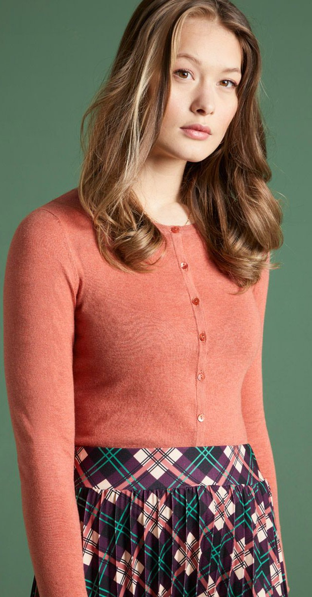 Vintage Clothing -Cardi Roundneck - Cocoon -Dusty Rose