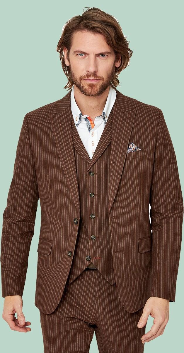 Vintage Fashion - Jacket - Sensational Stripe Blazer - Brown Striped