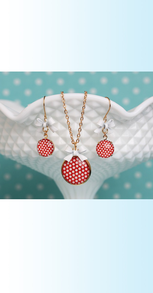Vintage Jewelry Set Polka Dot – Necklace And Earrings - Red/White