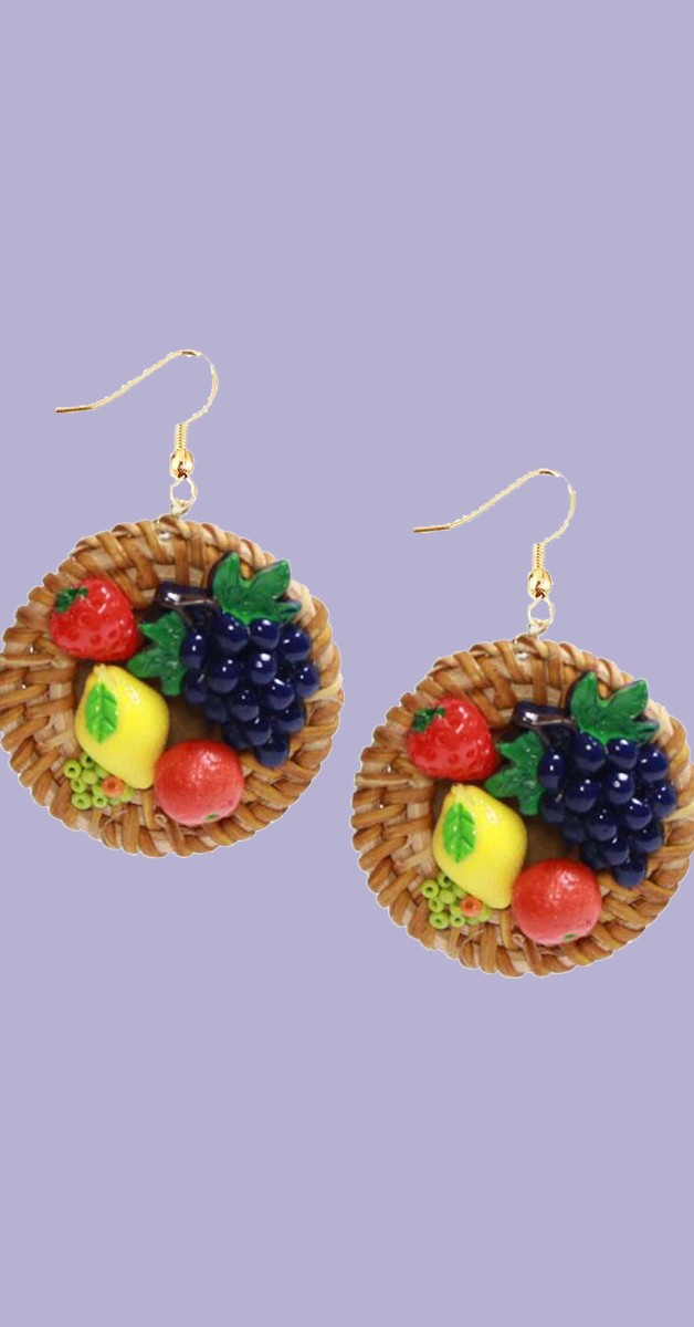Vintage Jewelry - Earrings With Fruits