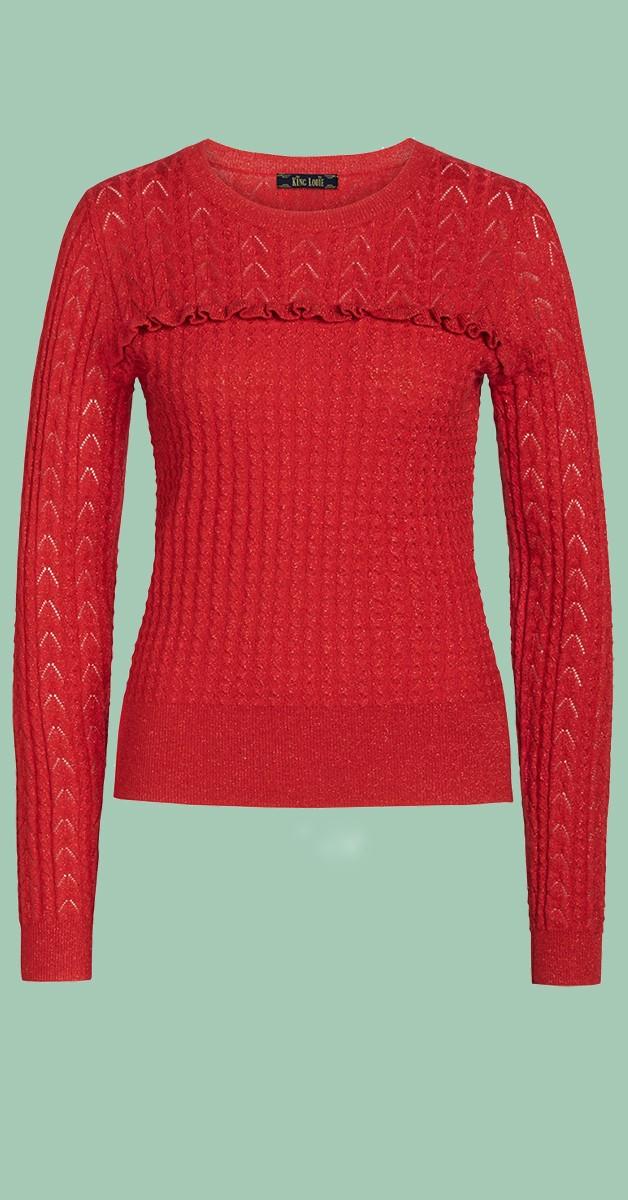 Vintage Clothing- Ruffle Top Adene - Red