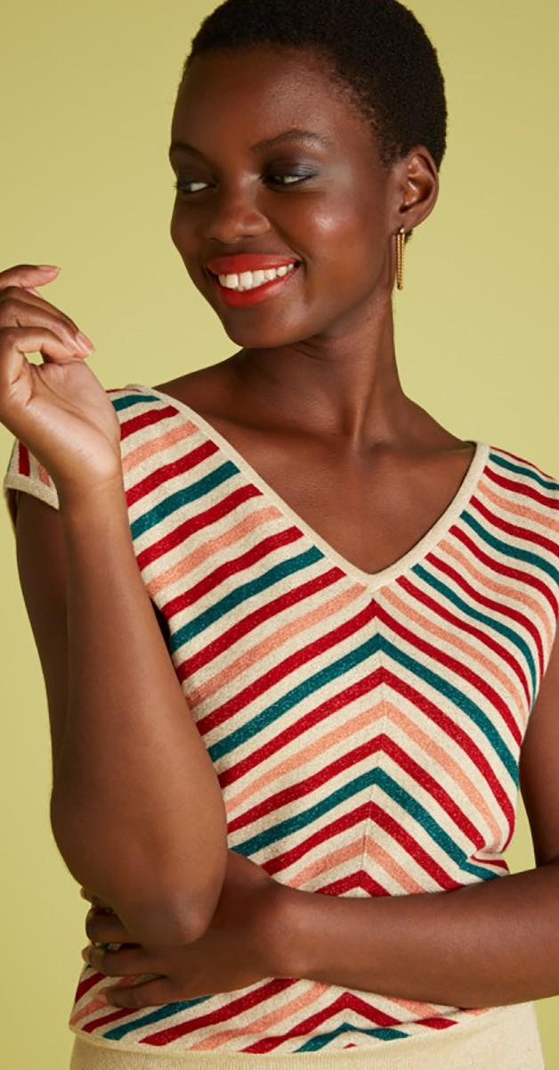 Retro Style Clothing - Deep V Top Cabana Stripe