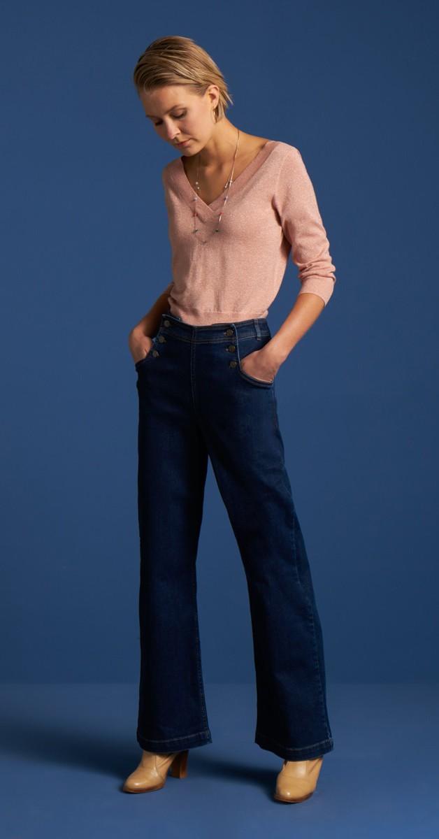 50s Retro Fashion - Pants Denim Blue