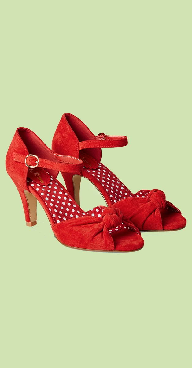 Vintage Style Shoes - Oh Miss Scarlet Shoes - Red