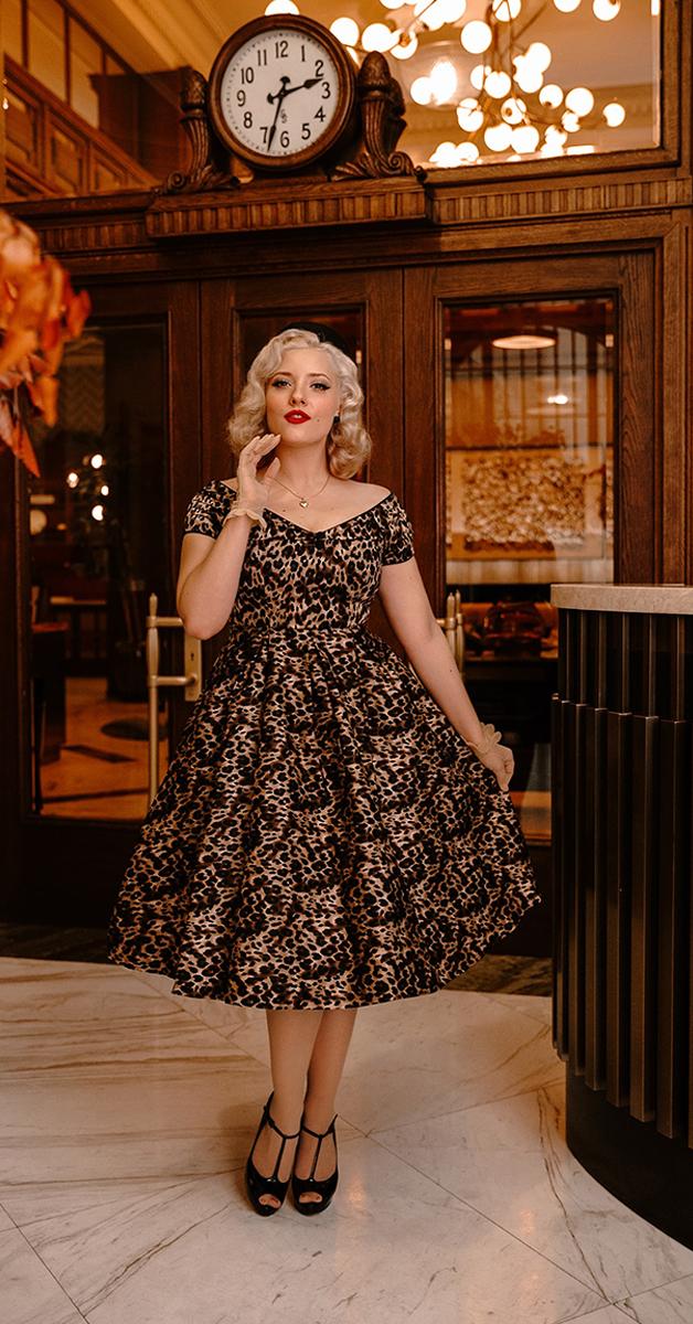 Vintage 50er Style Lily Swing Dress in Leopard Print