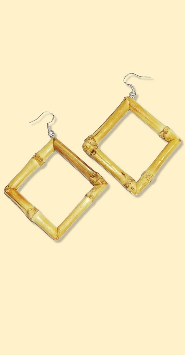 Natural bamboo earrings hoops rectangular-light brown