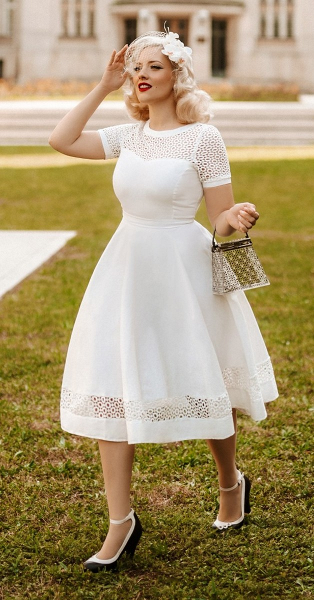 50s Vintage Style Pettiecoat Swing Dress - Tess Lace Sleeved Dress in White