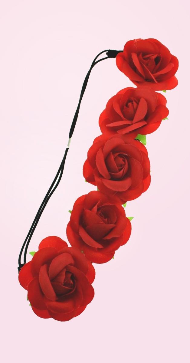Vintage Accessories - Rose Flower Headband - Red