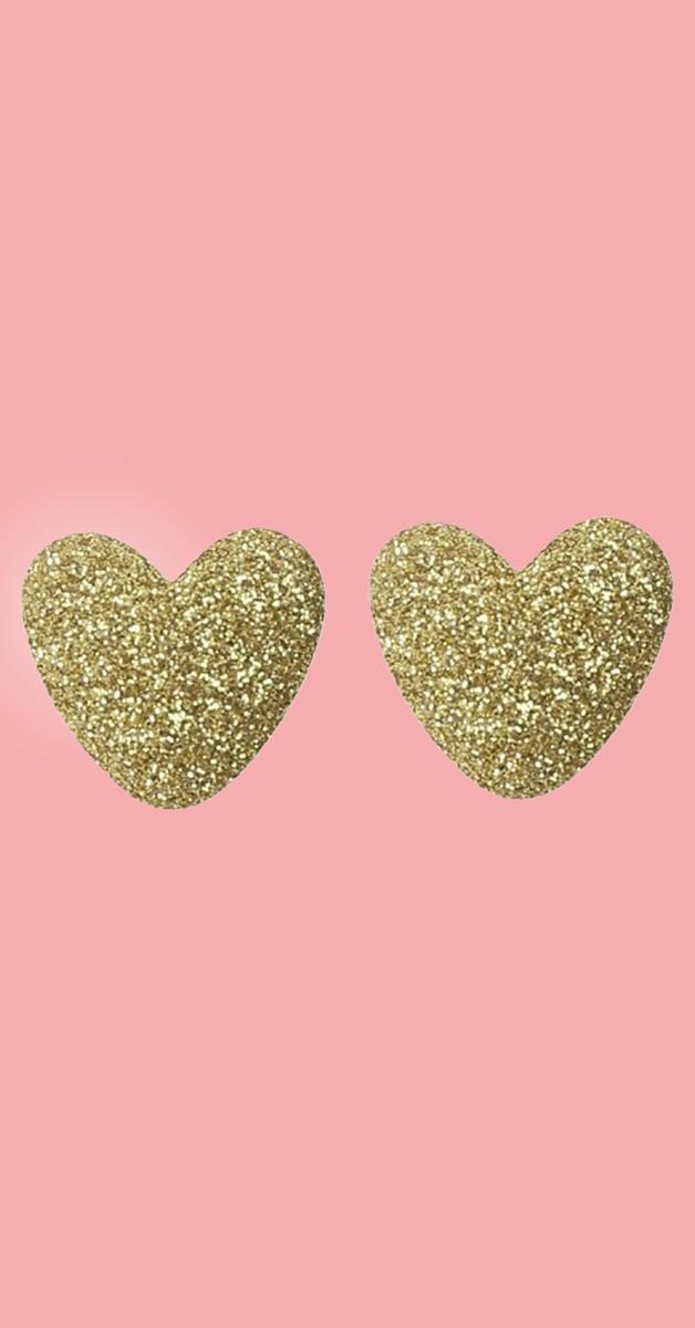 Vintage Retro Ohrstecker - Kay Lurex Heart - Goldfarben