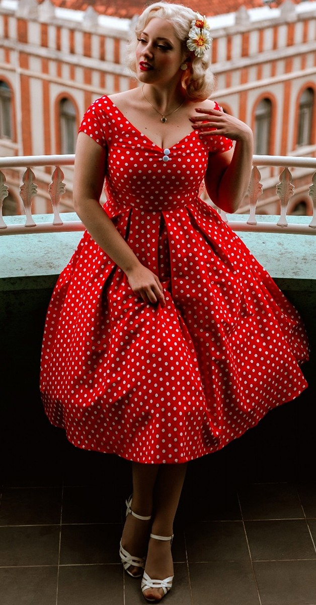 Vintage Style Fashion -Lily Off Shoulder Dress – Red White Polka Dots